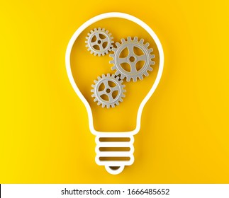 Gears cogwheels in lightbulb shape over yellow background - strategy, creative or business innovation modern minimal concept, 3D illustration