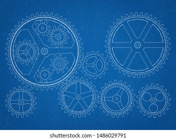 gears drawing - 3D rendering
