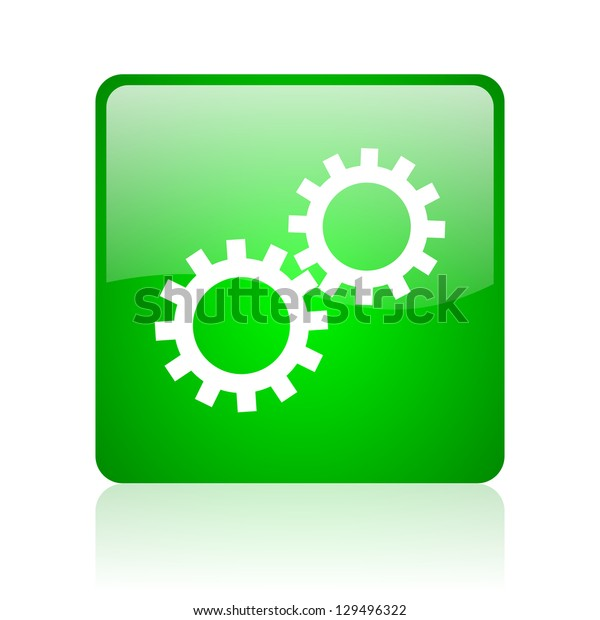 gears green square web icon on white background