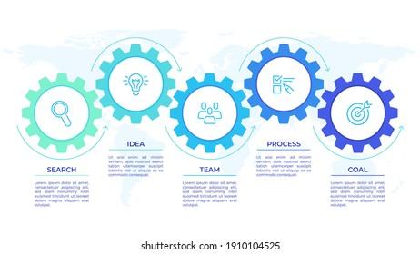 Gears infographics. Cogwheels transmission connecting mechanical, engineering techo progress business presentation start-up  concept. Cog wheel connection banner, gear infographic illustration