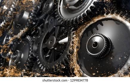 gears in the oil 3D Rendering