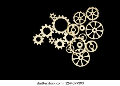 Gears on black background. illustration. Conceptual image of industry, connection, mecanics or team work.