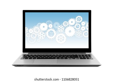 Gears on laptop screen isolated on white with clipping path. 2D illustration