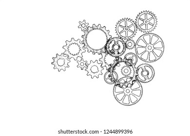 Gears on white background. illustration. Conceptual image of industry, connection, mecanics or team work.