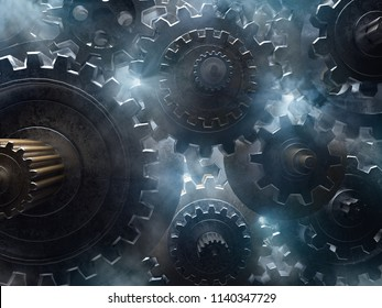 Gears, smoke and light (3D Rendering)
