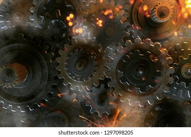 Gears with sparks (3D Rendering)