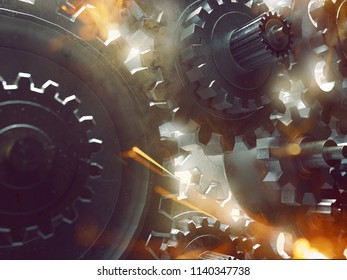 Gears, sparks and smoke (3D Rendering)