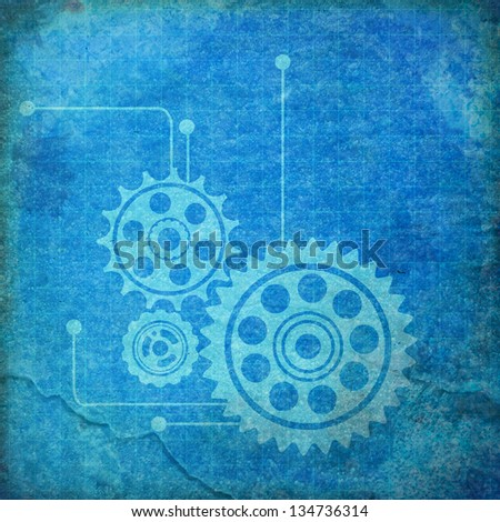 Gears vintage blueprint background paper stock illustration gears vintage blueprint background paper malvernweather Choice Image