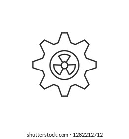 Gearwheel with radiation sign icon. Simple outline illustration of Sustainable Energy set icons for UI and UX, website or mobile application