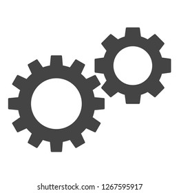 Gearwheels raster icon on a white background. An isolated flat icon illustration of gearwheels with nobody.