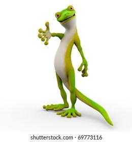 gecko cartoon helping hand