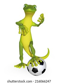 Gecko with a football