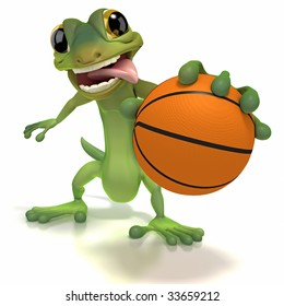 Gecko holding basketball with a tongue sticking out and outstretched arm on white background. Clipping path included.