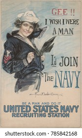 GEE!! I WISH I WERE A MAN, ID JOIN THE NAVY. American World War 1 recruiting poster by Howard Chandler Christy, 1917