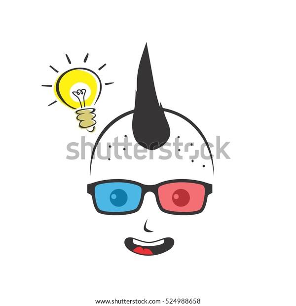 Geek Cartoon Nerd Geeky Glasses Stock Illustration 524988658