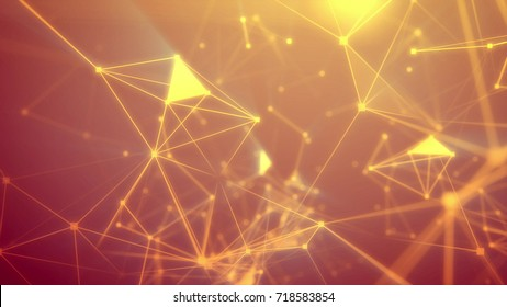 Geek looking 3d illustrationof the dark orange  Internet based space pierced with light yellow rays and connecting with each other in some luminous spots and sparkling crystal-sided surfaces