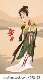 Geisha on the shore.