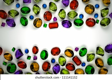 Gems plan view on a light background