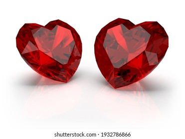 Gems, two red heart-shaped rubies. 3D image. Light background.