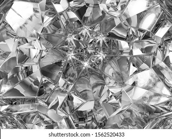 Gemstone or diamond texture closeup and kaleidoscope. 3d render, 3d illustration