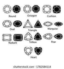 Gemstones gem cut isolated set jewelry diamond white crystal illustration. Jewel black stone silhouette