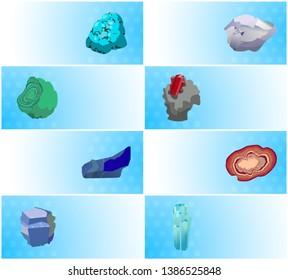 Gemstones web posters set aquamarine agate sapphire malachite turquoise garnet carnelian ruby precious online raster