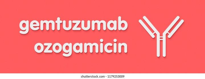 Gemtuzumab ozogamicin antibody-drug conjugate. Used in treatment of acute myeloid leukemia. Generic name and stylized antibody representation.