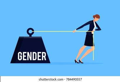Gender. Business concept of discrimination in a flat style with businesswoman. Businesswoman drags a weight with an inscription gender. Raster illustration.