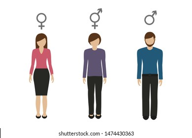 gender characters female male and neutral illustration