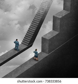 Gender discrimination and sexism inequality as a female concept of a woman with the burden of climbing an obstacle and a man with easy stairs with 3D illustration elements for unfair gender bias.