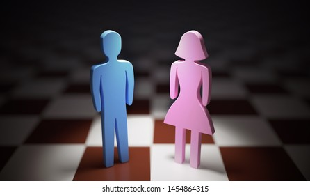 Gender equality concept. Man and woman standing on chess board. 3D rendered illustration.