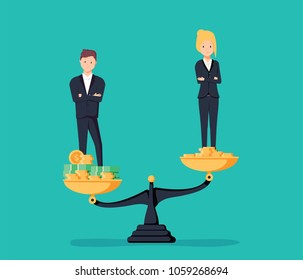 Gender gap and inequality in salary, pay concept. Businessman and businesswoman on piles of coins. Symbol of discrimination difference and injustice. illustration. Career offer