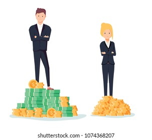 Gender gap and inequality in salary, pay concept. Businessman and businesswoman on piles of coins. Symbol of discrimination difference and injustice. Career offer