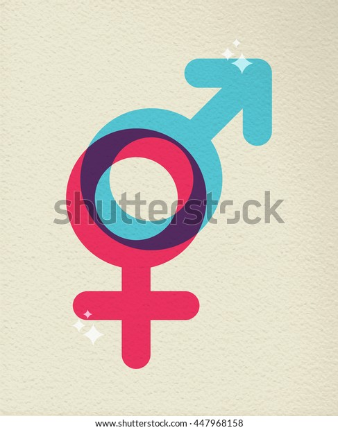 Gender icon concept, illustration of people sex boy and girl symbol in colorful style over texture background.