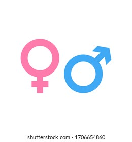 Gender icon and male, female symbol isolated on white