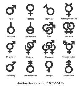 Gender Icons Set on White Background.