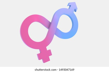 Gender mobius loop Male and Female symbols angle 2 3D rendering