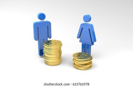 Gender Pay Gap, 3d Illustration