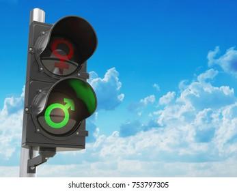 Gender sex symbol of men and women on traffic light, Sexism descrimination, emancipation and gender inequality concept. 3d illustration