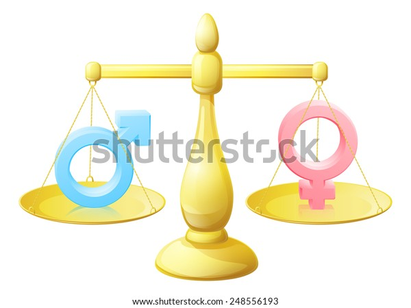 Gender signs scales equal opportunity concept with man and woman or male and female symbols weighed against each other