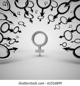 Gender symbols. Concept 3d illustration.