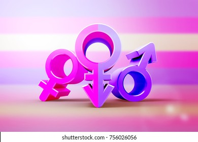 Gender symbols with stylized silhouettes, male, female and unisex or transgender. Idea and leadership concep. 3d illustration.