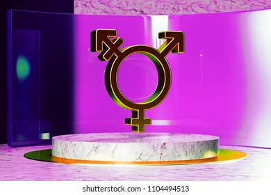 Gender Transgender Alt Double Icon on White Marble and Magenta Glass. 3D Illustration of Stylish Golden Creative, Gender, Genderqueer Icon Set in the Magenta Installation.