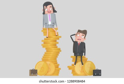 Gender wage difference concept. Business people sitting on top of pile of coins. Isolated. 3D illustration