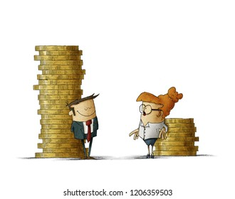 Gender wage difference concept. Illustration of a man and a woman next to two stacks of coins of different size. isolated