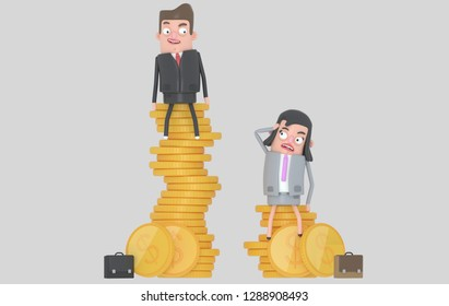 Gender wage difference concept. Man and woman sitting on top of pile of coins. Isolated. 3D illustration
