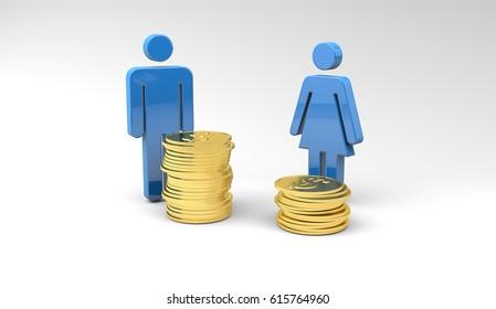 Gender Wage Gap, 3d Illustration