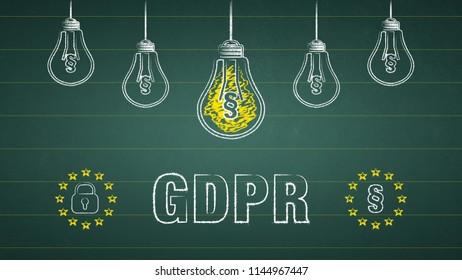 General Data Protection Regulation, GDPR. Light bulbs on a chalkboard