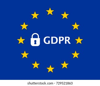 General Data Protection Regulation (GDPR) European Union (EU) Flag with Padlock
