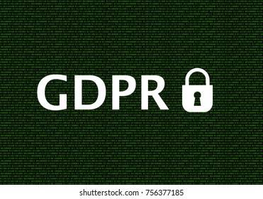 General Data Protection Regulation (GDPR) Words on Green Binary Code Background